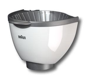 7051392 — Кофеприемник — держатель фильтра (серебристо-белый) к кофеварке Braun KF500, KF510, KF550 - Для бытовой техники BrAun